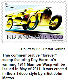 """This commemorative """"forever"""" stamp featuring Ray Harroun's winning 1911 Marmon Wasp will be issued in May of 2011. It was created in the art deco style by artist John Mattos. Image courtesy U.S. Postal Service."""