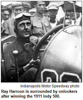 Ray Harroun is surrounded by onlookers after winning the 1911 Indy 500. Photo courtesy Indianapolis Motor Speedway.