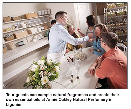 Tour guests can sample natural fragrances and create their own essential oils at Annie Oakley Natural Perfumery in Ligonier.