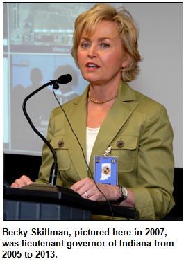 Becky Skillman, pictured here in 2007, was lieutenant governor of Indiana from 2005 to 2013.