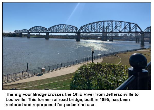The Big Four Bridge crosses the Ohio River from Jeffersonville to Louisville. This former railroad bridge, built in 1895, has been restored and repurposed for pedestrian use.