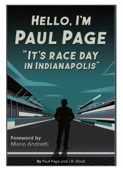"""Book cover: Hello, I'm Paul Page; """"It's Race Day in Indianapolis."""""""