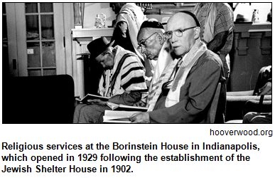 Religious services at the Borinstein House in Indianapolis, which opened in 1929 following the establishment of the Jewish Shelter House in 1902. Image courtesy hooverwood.org.