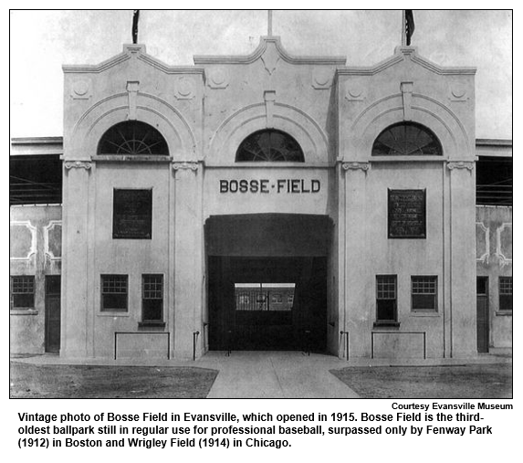 Vintage photo of Bosse Field in Evansville, which opened in 1915. Bosse Field is the third oldest ballpark still in regular use for professional baseball, surpassed only by Fenway Park (1912) in Boston and Wrigley Field (1914) in Chicago.