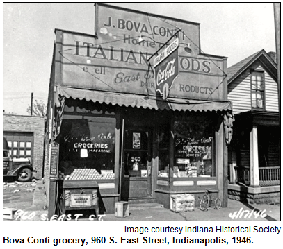 Bova Conti grocery, 960 S. East Street, Indianapolis, 1946. Image courtesy Indiana Historical Society.