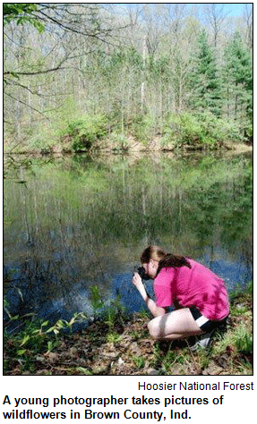 A young photographer takes pictures of wildflowers in Brown County, Ind.