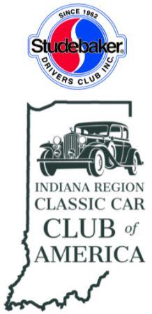 Car club logos: Studebaker Drivers Club and Indiana Region Classic Car Club of America.
