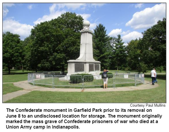 The Confederate monument in Garfield Park prior to its removal on June 8 to an undisclosed location for storage. The monument originally marked the mass grave of Confederate prisoners of war who died at a Union Army camp in Indianapolis.