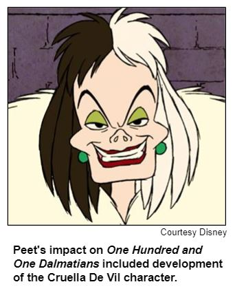 Peet's impact on One Hundred and One Dalmatians included development of the Cruella De Vil character.
