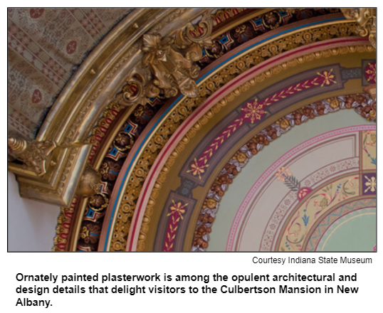 Ornately painted plasterwork is among the opulent architectural and design details that delight visitors to the Culbertson Mansion in New Albany. Courtesy Indiana State Museum.