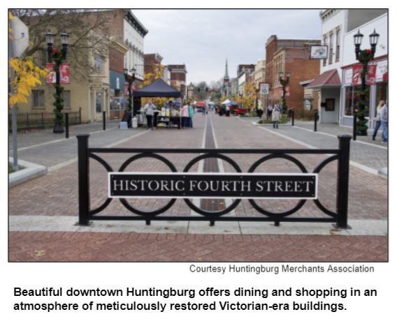 Beautiful downtown Huntingburg offers dining and shopping in an atmosphere of meticulously restored Victorian-era buildings. Courtesy Huntington Merchants Association.