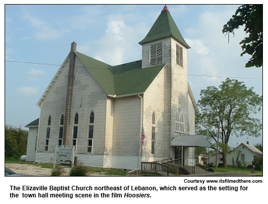 The Elizaville Baptist Church northeast of Lebanon, which served as the setting for the  town hall meeting scene in the film Hoosiers. 