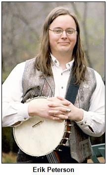 Erik Peterson holding a banjo.
