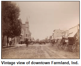 Vintage view of downtown Farmland, Ind.