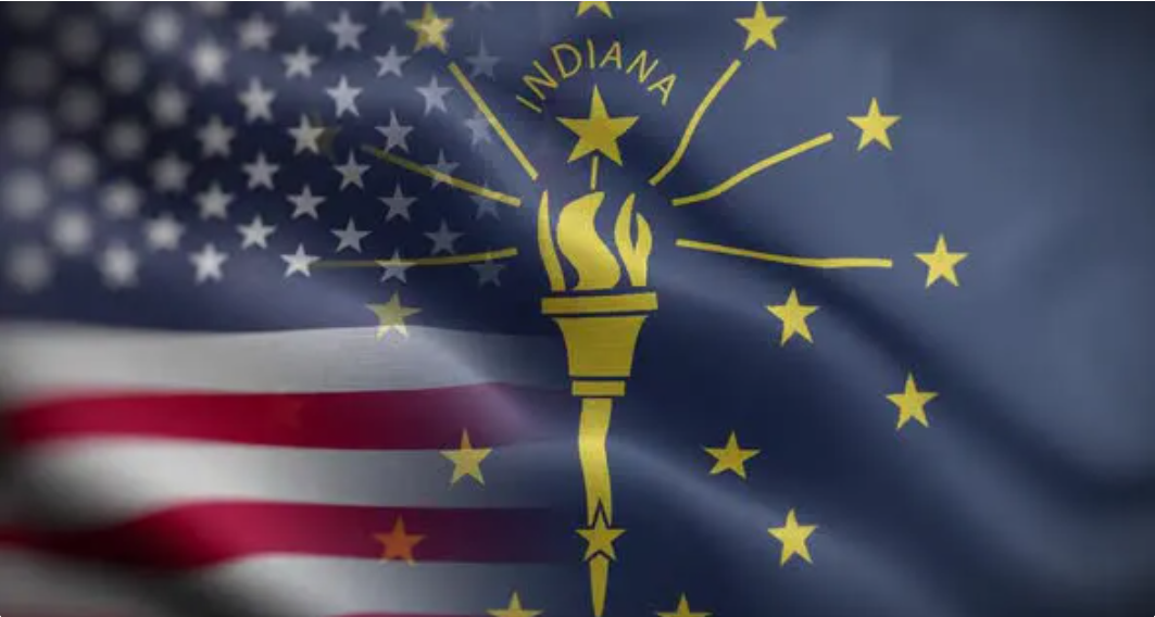 United States and Indiana State flags
