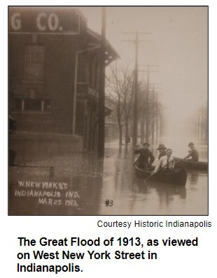 The Great Flood of 1913, as viewed on West New York Street in Indianapolis. Courtesy Historic Indianapolis.