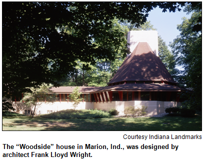 "The ""Woodside"" house in Marion, Ind., was designed by architect Frank Lloyd Wright. Image courtesy Indiana Landmarks."