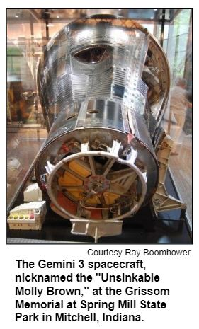 """The Gemini 3 spacecraft, nicknamed the """"Unsinkable Molly Brown,"""" at the Grissom Memorial at Spring Mill State Park in Mitchell, Indiana. Copywrite Ray Boomhower."""