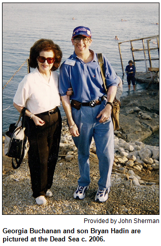 Georgia Buchanan and son Bryan Hadin are pictured at teh Dead Sea c. 2006. Proviced by John Sherman.