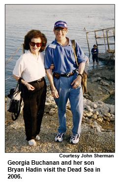 Georgia Buchanan and her son Bryan Hadin visit the Dead Sea in 2006.  Courtesy John Sherman.