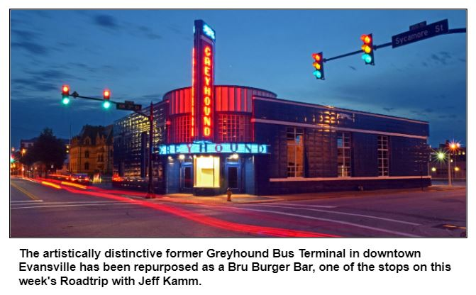 The artistically distinctive former Greyhound Bus Terminal in downtown Evansville has been repurposed as a Bru Burger Bar, one of the stops on this week's Roadtrip with Jeff Kamm.