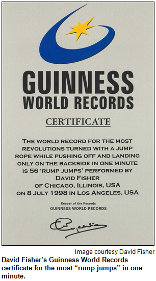"""David Fisher's Guinness World Records certificate for the most """"rump jumps"""" in one minute. Image courtesy David Fisher."""