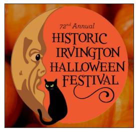 72nd Annual Historic Irvington Halloween Festival logo.