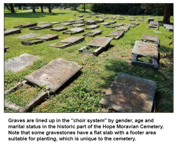 """Graves are lined up in the """"choir system"""" by gender, age and marital status in the historic part of the Hope Moravian Cemetery. Note that some gravestones have a flat slab with a footer area suitable for planting, which is unique to the cemetery."""