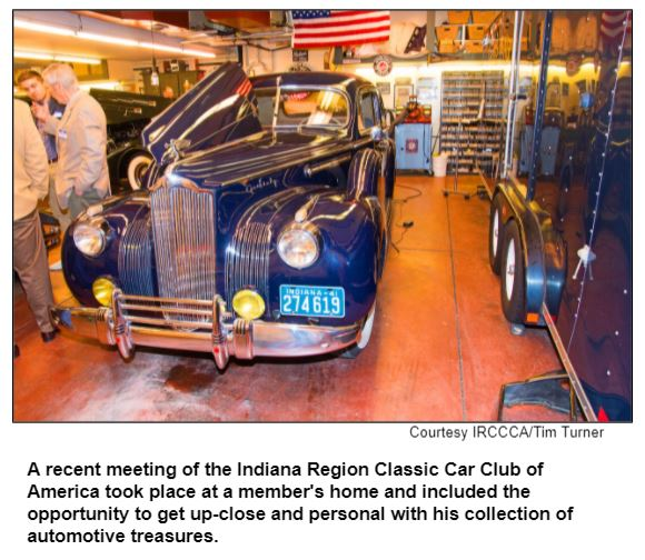 A recent meeting of the Indiana Region Classic Car Club of America took place at a member's home and included the opportunity to get up-close and personal with his collection of automotive treasures. Courtesy IRCCCA/Tim Turner.