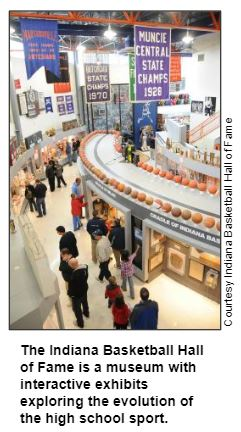 The Indiana Basketball Hall of Fame is a museum with interactive exhibits exploring the evolution of the high school sport. Courtesy Indiana  Basketball Hall of Fame.