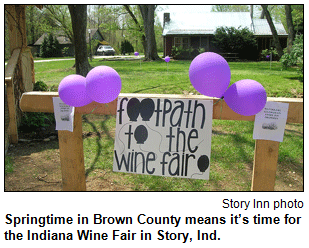 Springtime in Brown County means it's time for the Indiana Wine Fair in Story, Ind. Image courtesy Story Inn.