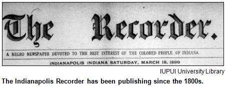 Indianapolis Recorder masthead, 1899.