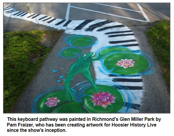 This keyboard pathway was painted in Richmond's Glen Miller Park by Pam Fraizer, who has been creating artwork for Hoosier History Live since the show's inception.