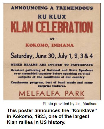 """This poster announces the """"Konklave"""" in Kokomo, 1923, one of the largest Klan rallies in US history. Photo provided by Jim Madison."""