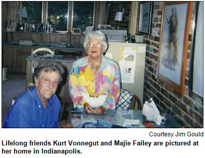 Lifelong friends Kurt Vonnegut and Majie Failey are pictured at her home in Indianapolis. Image courtesy Jim Gould.