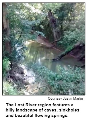 The Lost River region features a hilly landscape of caves, sinkholes and beautiful flowing springs. Courtesy Justin Martin