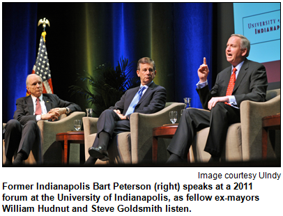 Former Indianapolis Bart Peterson (right) speaks at a 2011 forum at the University of Indianapolis, as fellow ex-mayors William Hudnut and Steve Goldsmith listen. Image courtesy University of Indianapolis.