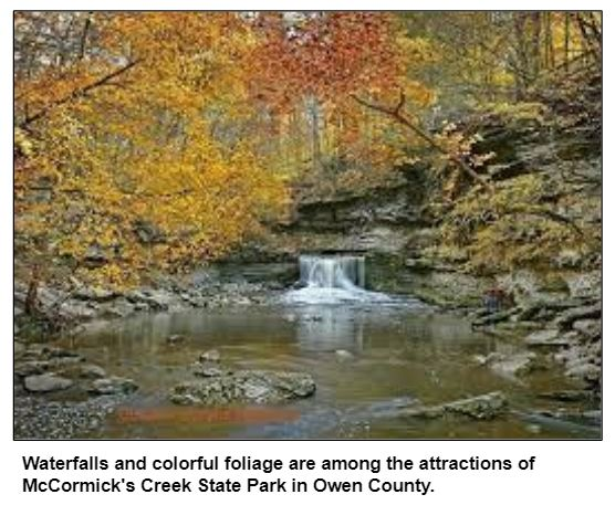Waterfalls and colorful foliage are among the attractions of McCormick's Creek State Park in Owen County.