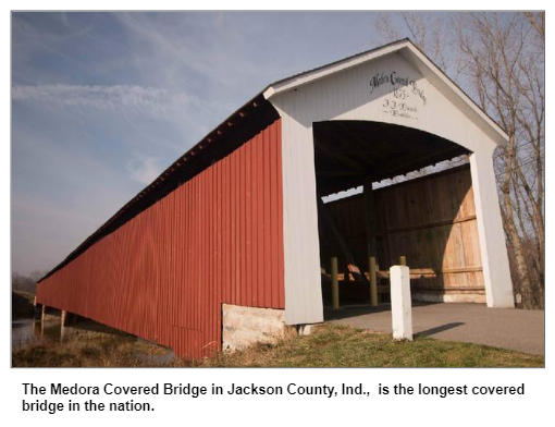 The Medora Covered Bridge in Jackson County, Ind., is the longest covered bridge in the nation.