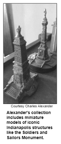Alexander's collection includes miniature models of iconic Indianapolis structures like the Soldiers and Sailors Monument. Courtesy Charles Alexander.
