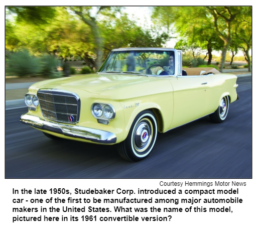 In the late 1950s, Studebaker Corp. introduced a compact model car - one of the first to be manufactured among major automobile makers in the United States. What was the name of this model, pictured here in its 1961 convertible version? Courtesy Hemmings Motor News.