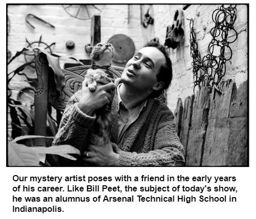 Our mystery artist poses with a friend in the early years of his career. Like Bill Peet, the subject of today's show, he was an alumnus of Arsenal Technical High School in Indianapolis.