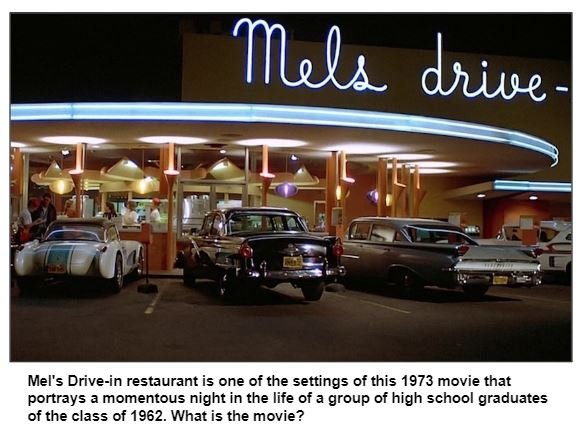 Mel's Drive-in restaurant is one of the settings of this 1973 movie that portrays a momentous night in the life of a group of high school graduates of the class of 1962. What is the movie?