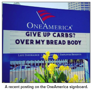 A recent posting on the OneAmerica signboard.