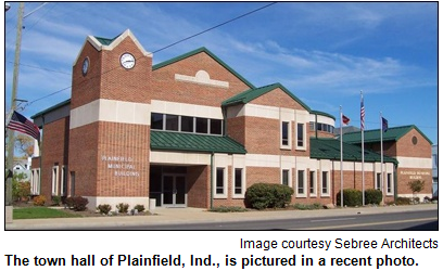 The town hall of Plainfield, Ind., is pictured in a recent photo.