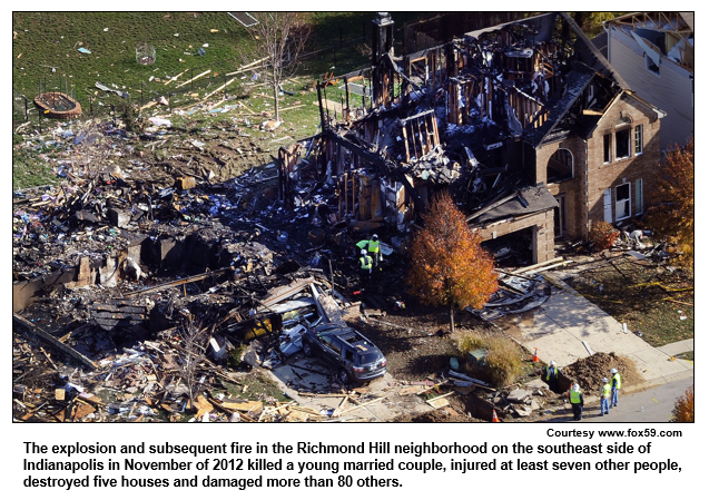 The explosion and subsequent fire in the Richmond Hill neighborhood on the southeast side of Indianapolis in November of 2012 killed a young married couple, injured at least seven other people, destroyed five houses and damaged more than 80 others.