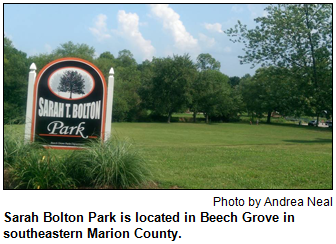 Sarah Bolton Park is located in Beech Grove in southeastern Marion County. Photo by Andrea Neal.
