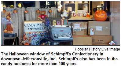 The Halloween window of Schimpff's Confectionery in downtown Jeffersonville, Ind. Schimpff's also has been in the candy business for more than 100 years. Hoosier History Live photo.