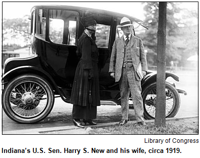 Indiana's U.S. Sen. Harry S. New and his wife, circa 1919.