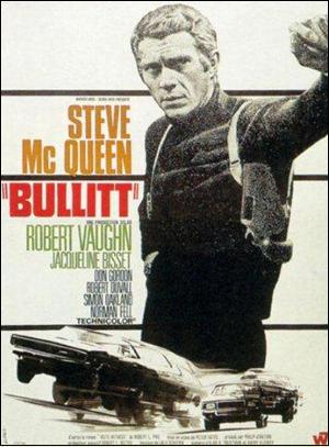 Steve McQueen Bullitt movie poster.